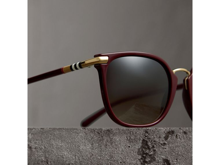 Check Detail Square Frame Sunglasses in Burgundy - Women | Burberry United States - cell image 1