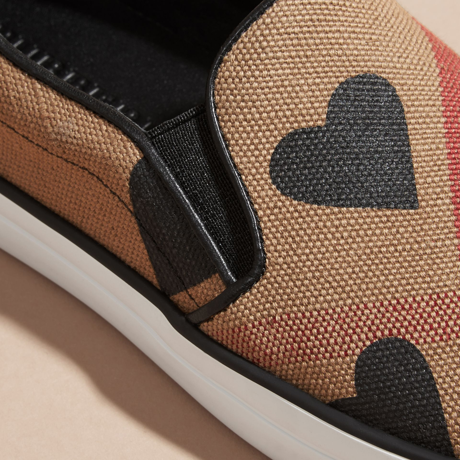 Check/black Check and Heart Print Slip-on Trainers Check/black - gallery image 2