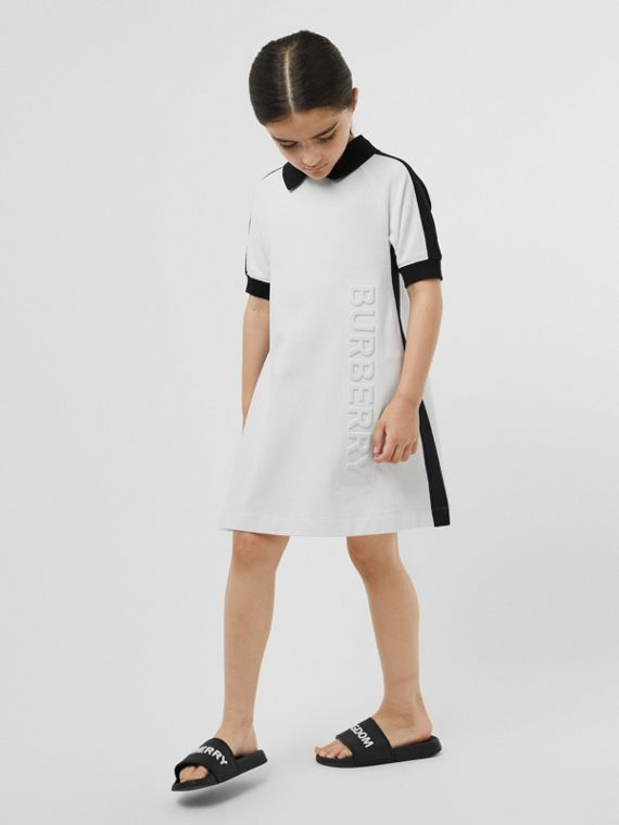 Embossed Logo Cotton Piqué Polo Dress in White