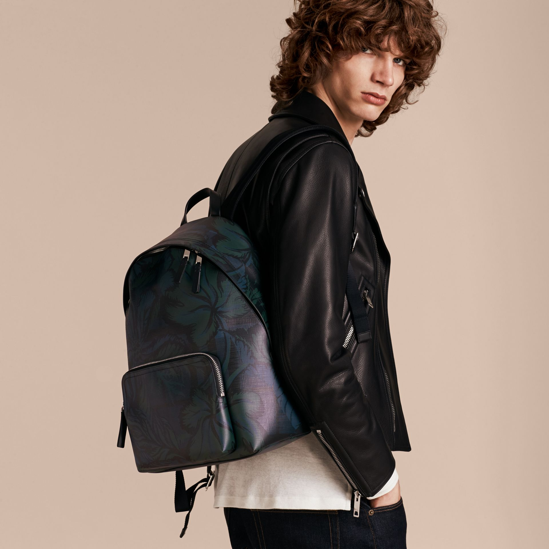 Leather Trim Floral Print London Check Backpack Navy - gallery image 3