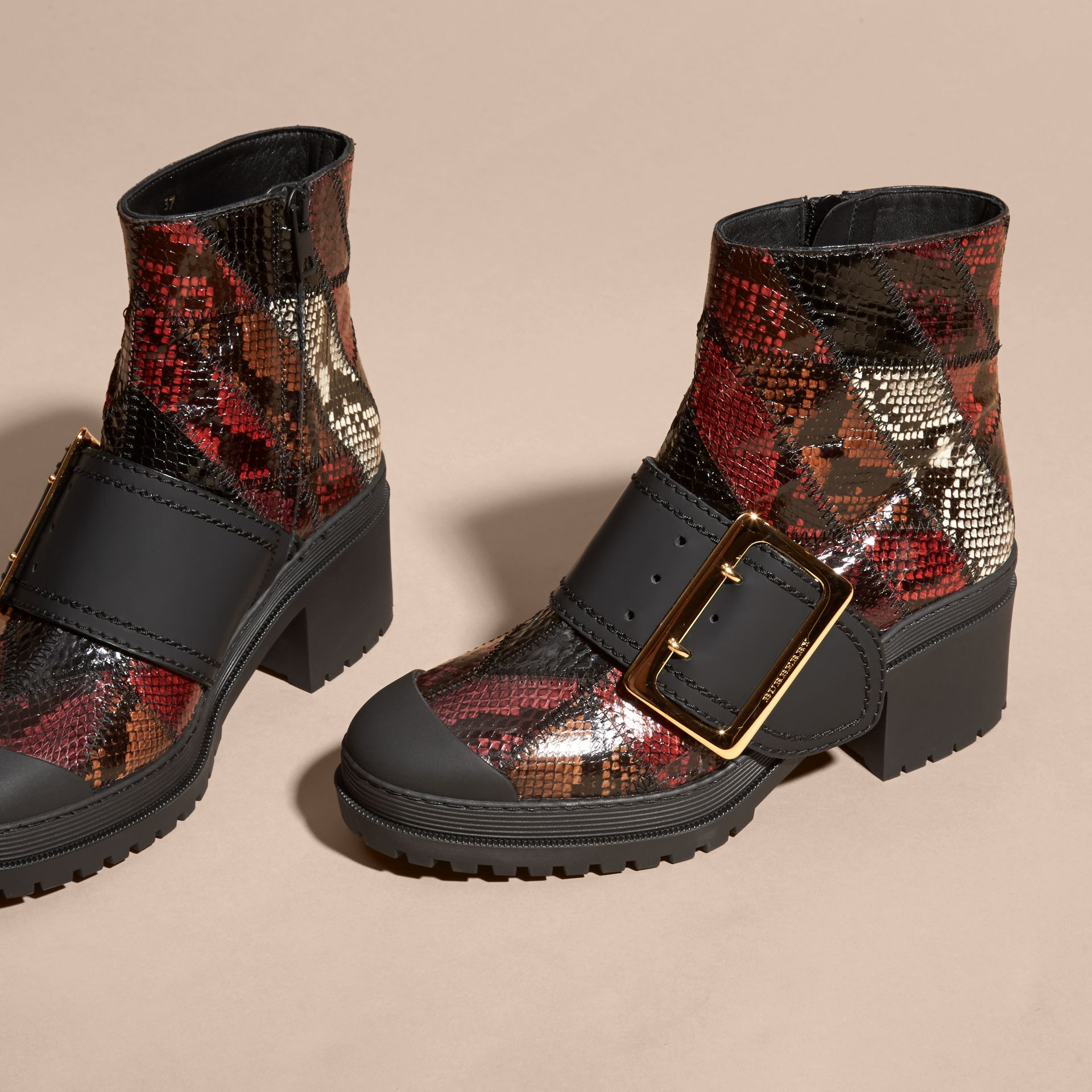 Tan/burgundy red The Buckle Boot in Snakeskin and Rubberised Leather - gallery image 3