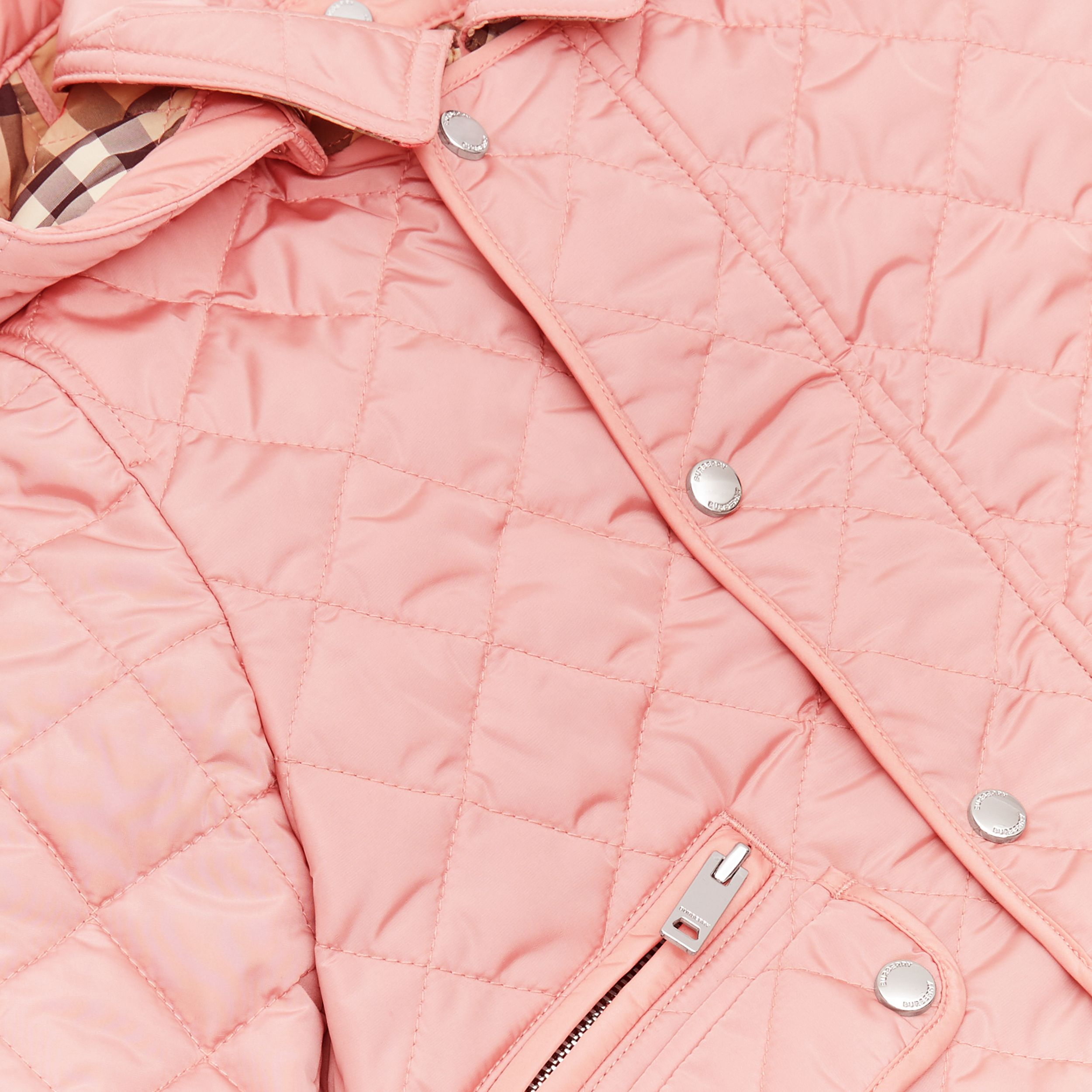 Detachable Hood Diamond Quilted Jacket in Dusty Pink - Children | Burberry - 2