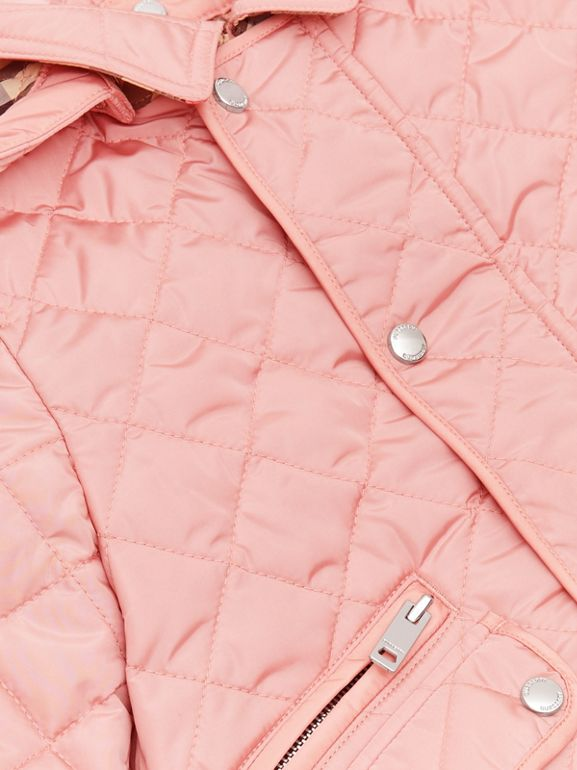 Detachable Hood Diamond Quilted Jacket in Dusty Pink - Children   Burberry - cell image 1