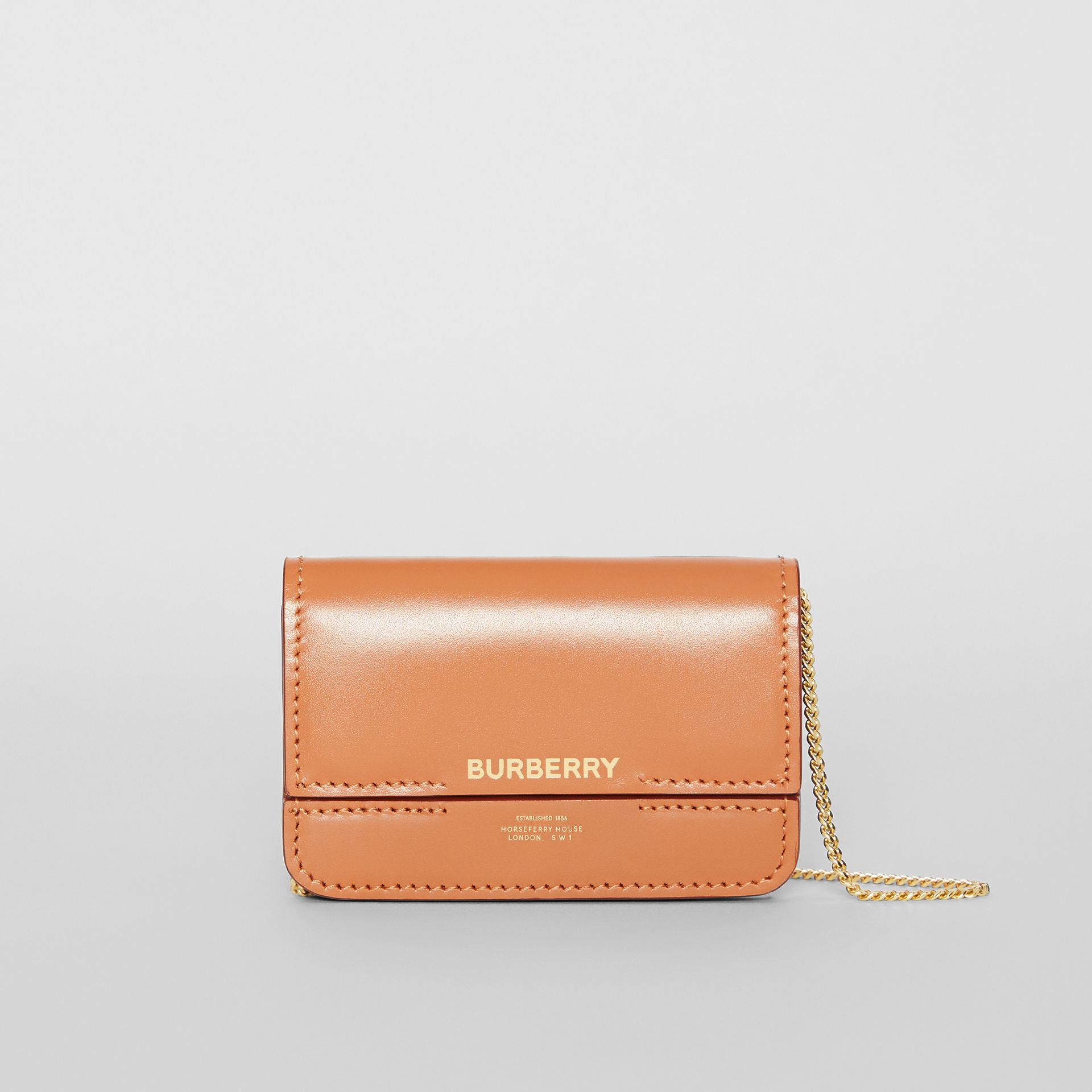 Horseferry Print Card Case with Detachable Strap in Nutmeg | Burberry - gallery image 0