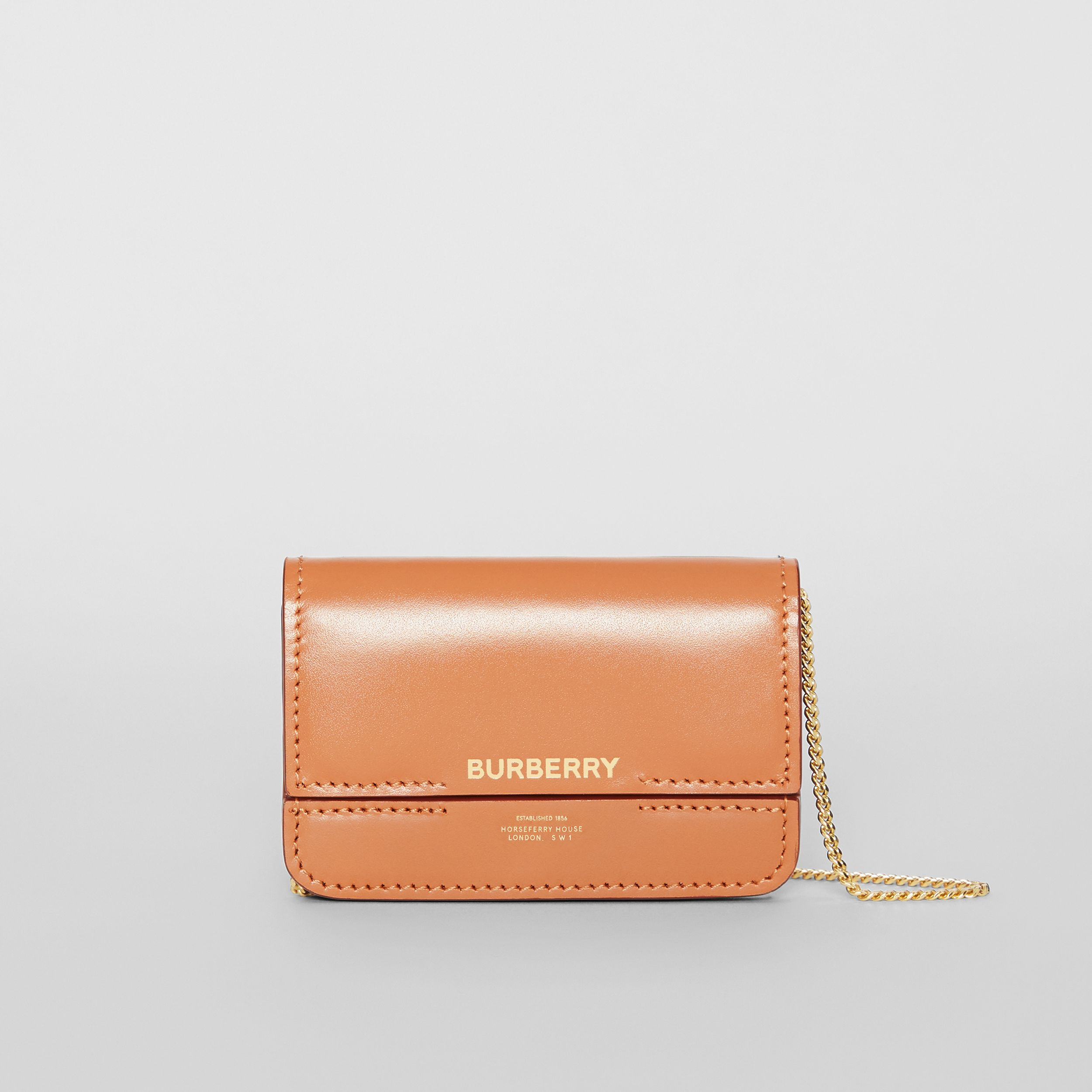 Horseferry Print Card Case with Detachable Strap in Nutmeg | Burberry - 1