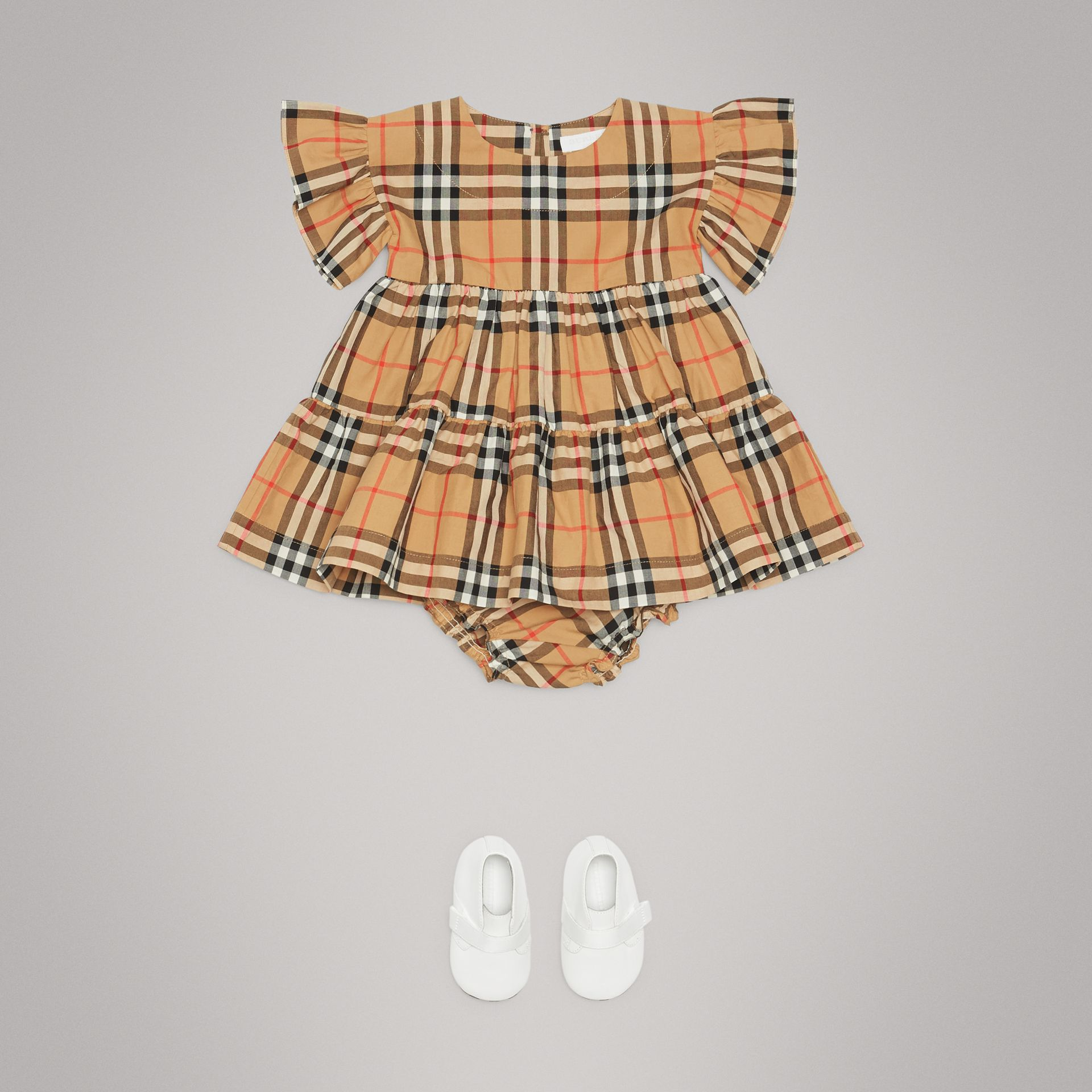 Ruffle Detail Vintage Check Dress with Bloomers in Antique Yellow | Burberry - gallery image 2