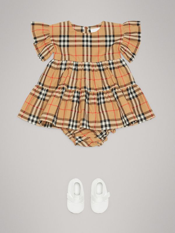 Ruffle Detail Vintage Check Dress with Bloomers in Antique Yellow - Children | Burberry - cell image 2