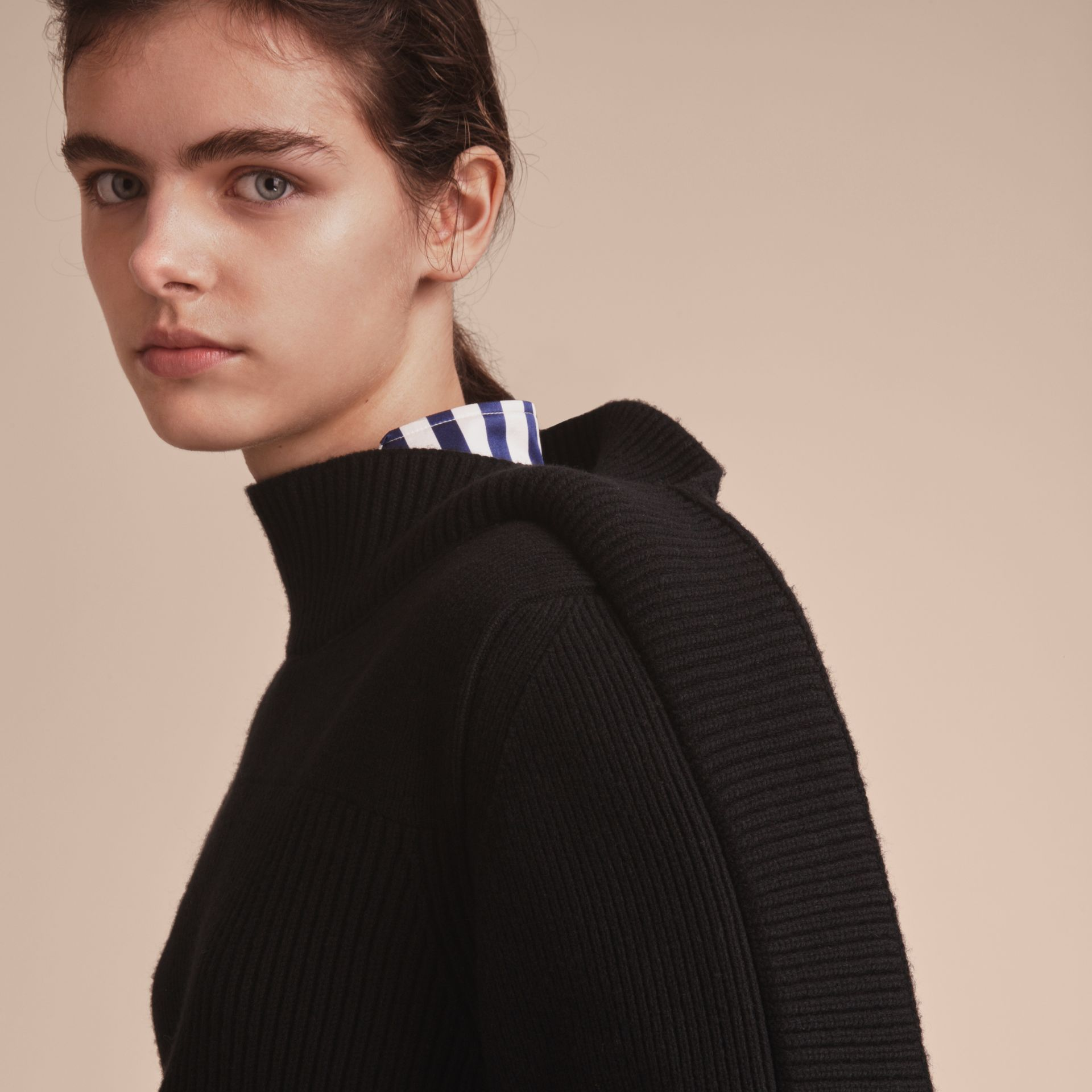 Asymmetric Rib Knit Wool Cashmere Sweater - Women | Burberry - gallery image 5
