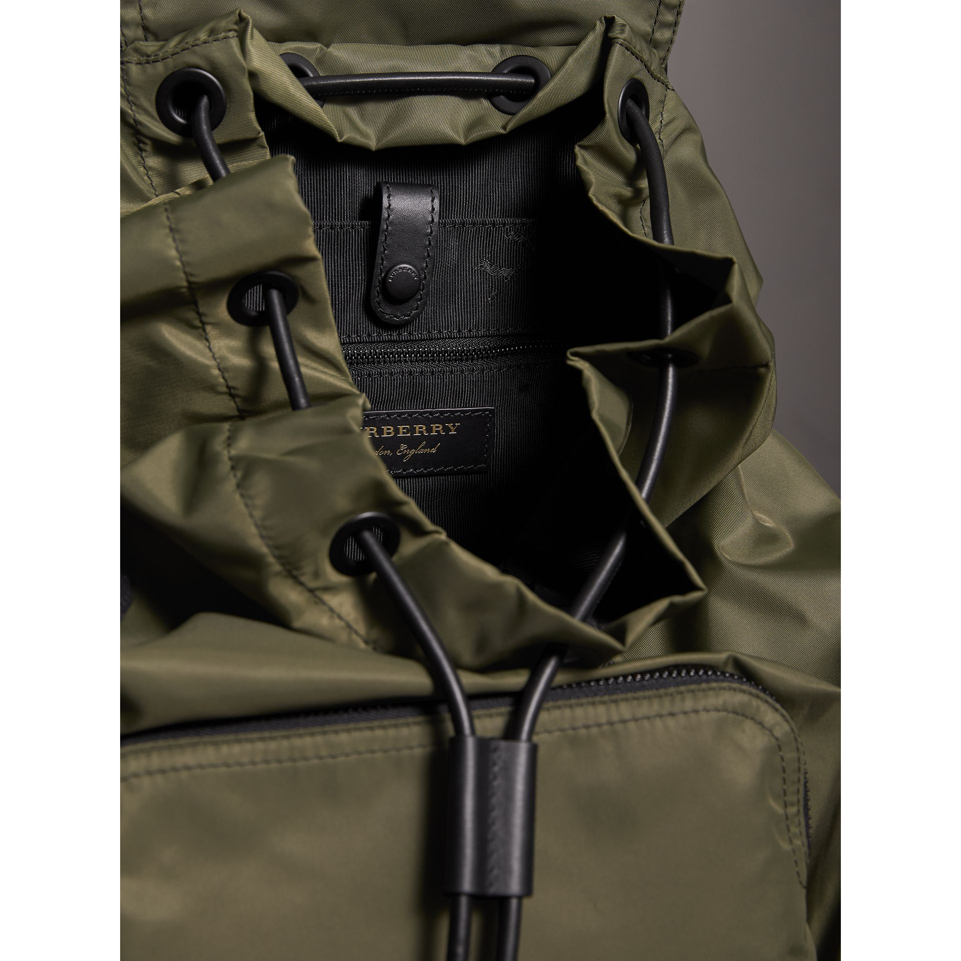 The Large Rucksack in Technical Nylon and Leather in Canvas Green - Men | Burberry - gallery image 5