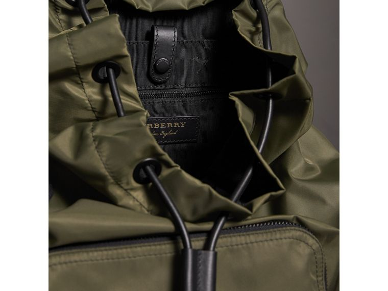 The Large Rucksack in Technical Nylon and Leather in Canvas Green | Burberry - cell image 4