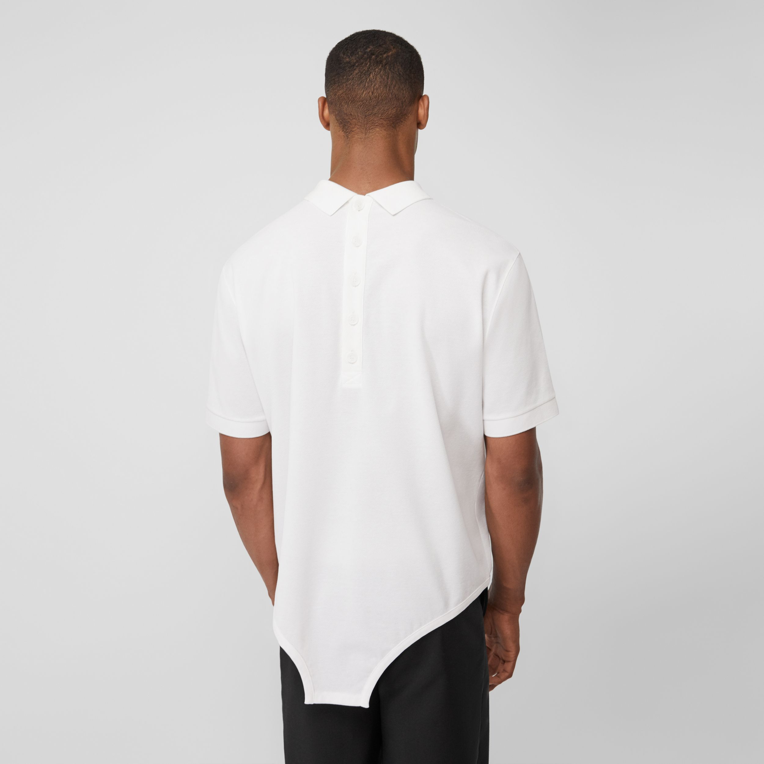 Cut-out Hem Cotton Reconstructed Polo Shirt in Optic White - Men | Burberry - 3