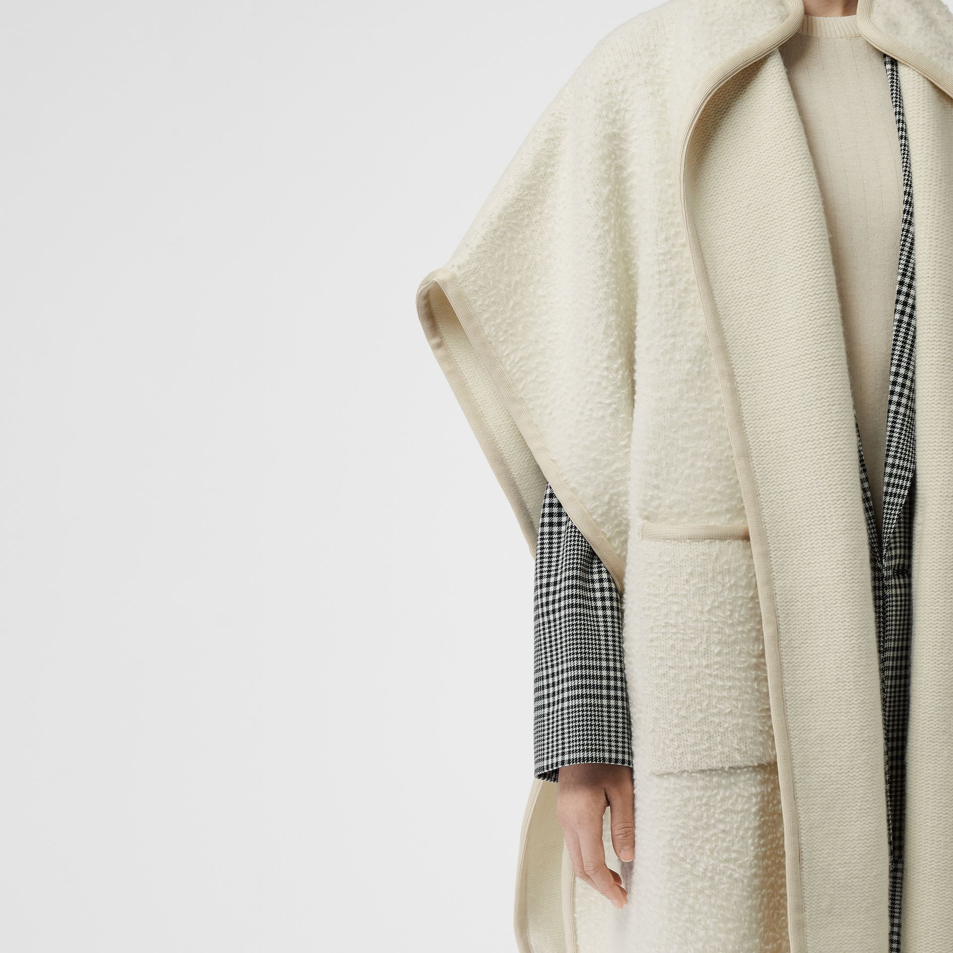 Wool Fleece Cape in Ivory - Women | Burberry Australia - gallery image 1