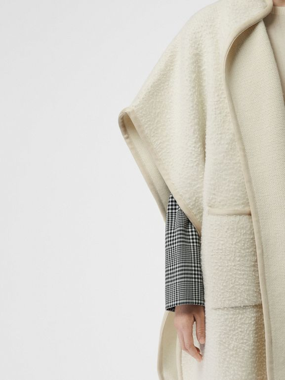 Wool Fleece Cape in Ivory - Women | Burberry - cell image 1