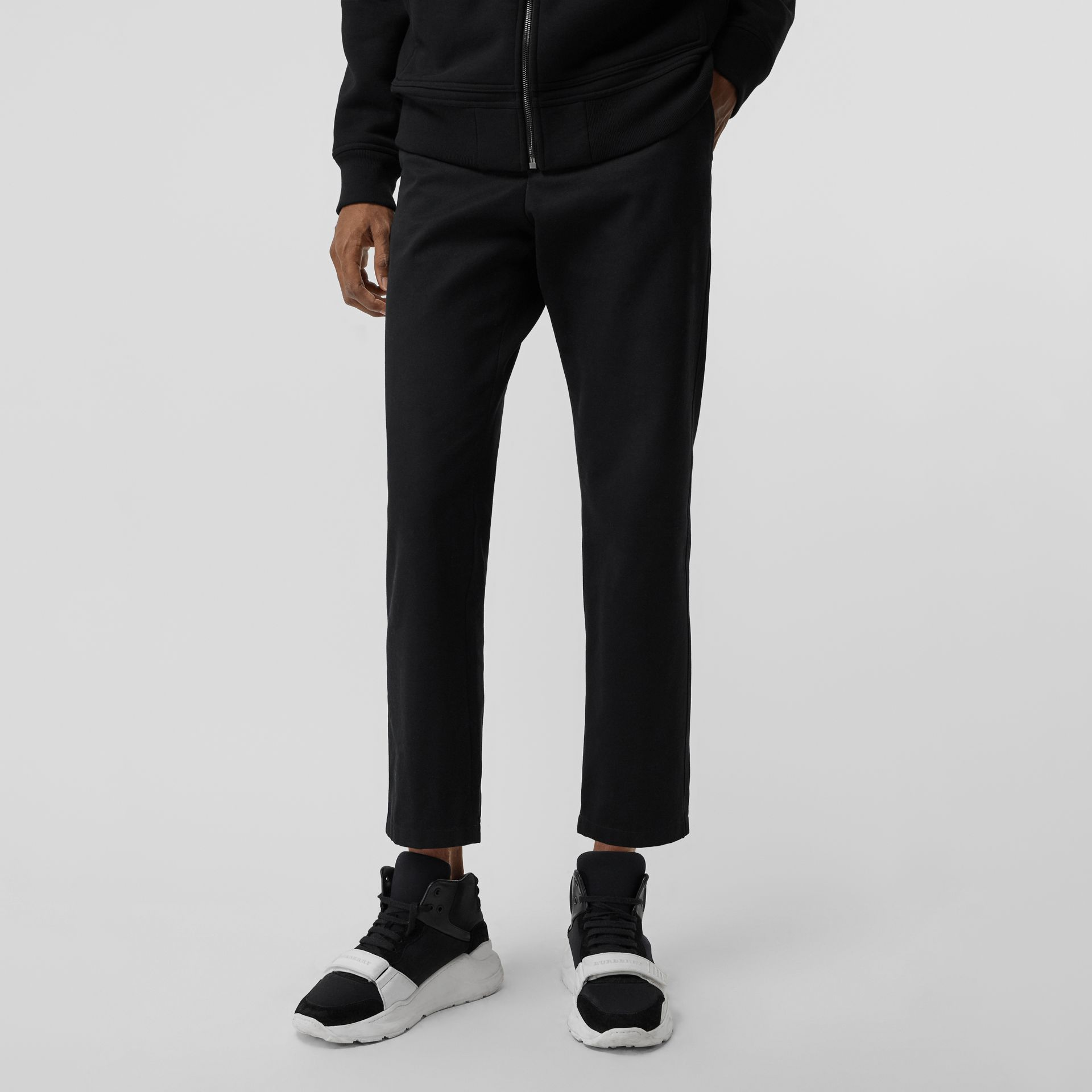 Slim Fit Cotton Blend Chinos in Black - Men | Burberry - gallery image 4