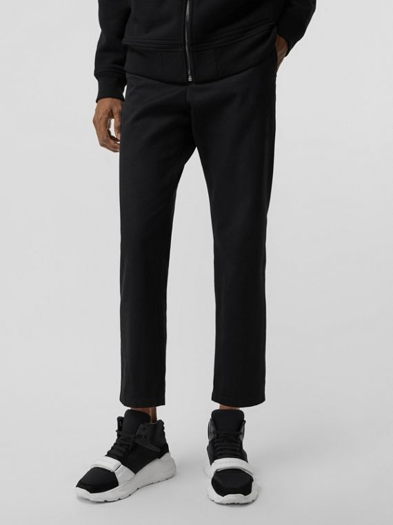Slim Fit Cotton Blend Chinos in Black