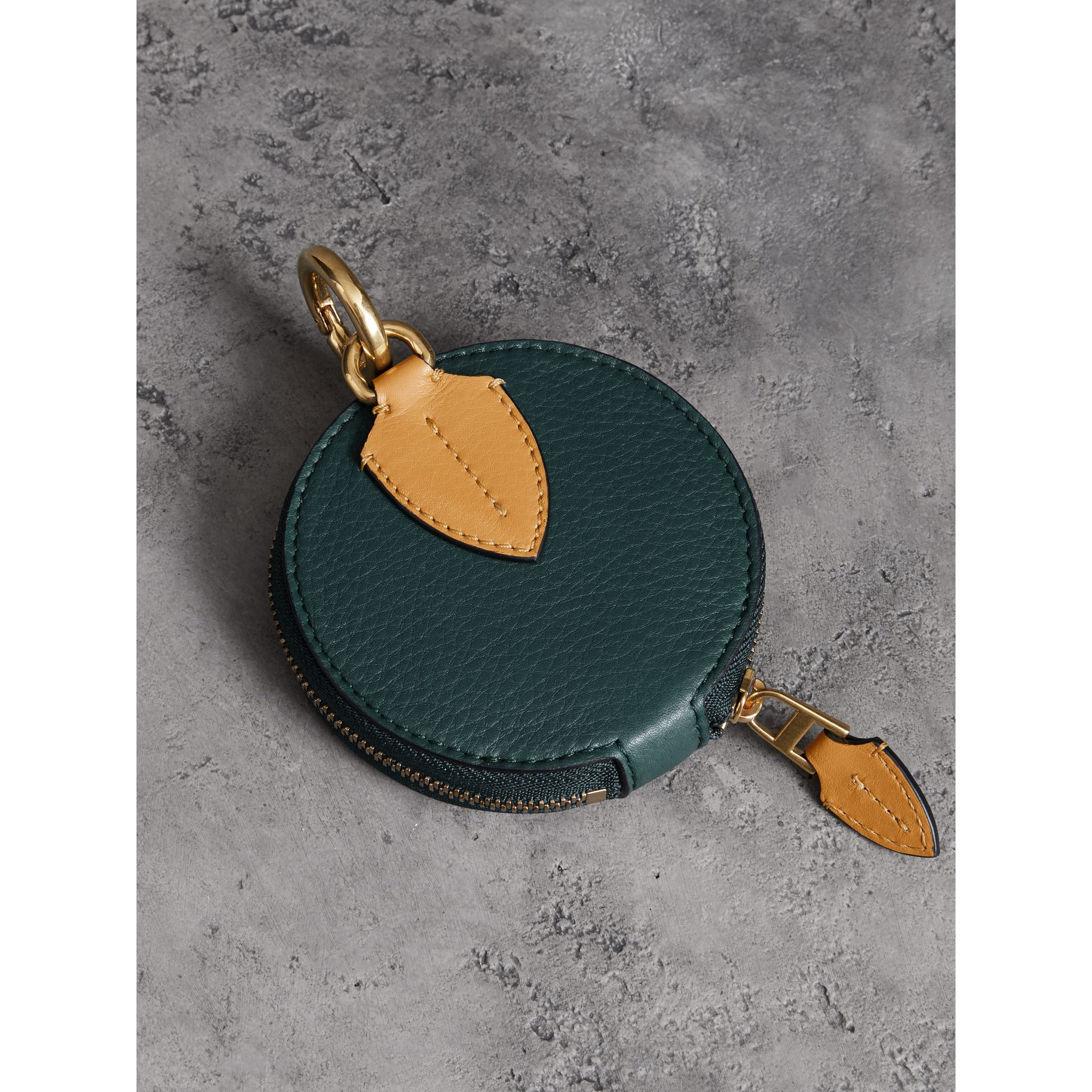 Small Round Leather Coin Case in Dark Cyan/cornflower Yellow | Burberry Singapore - gallery image 3