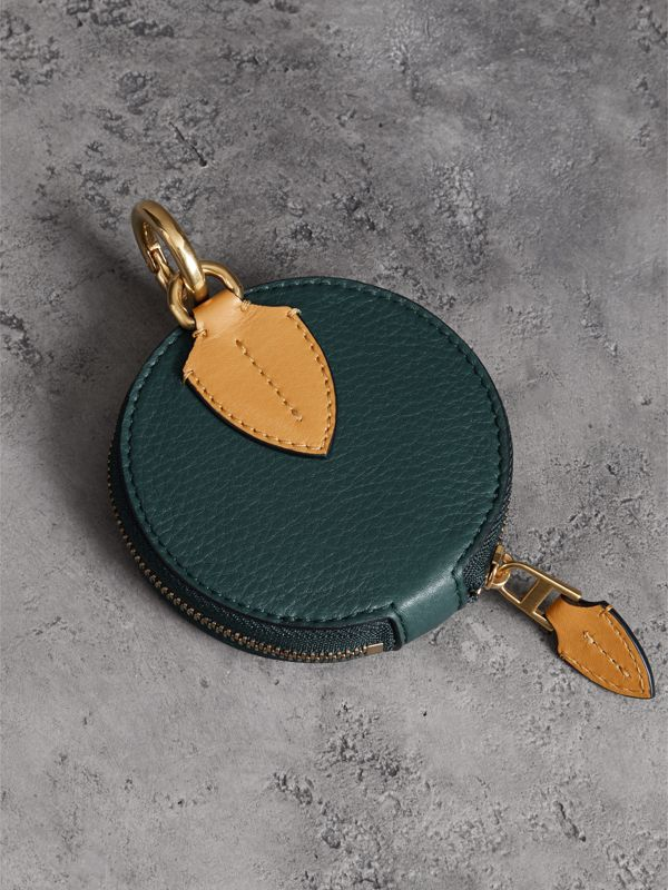 Small Round Leather Coin Case in Dark Cyan/cornflower Yellow | Burberry Singapore - cell image 3