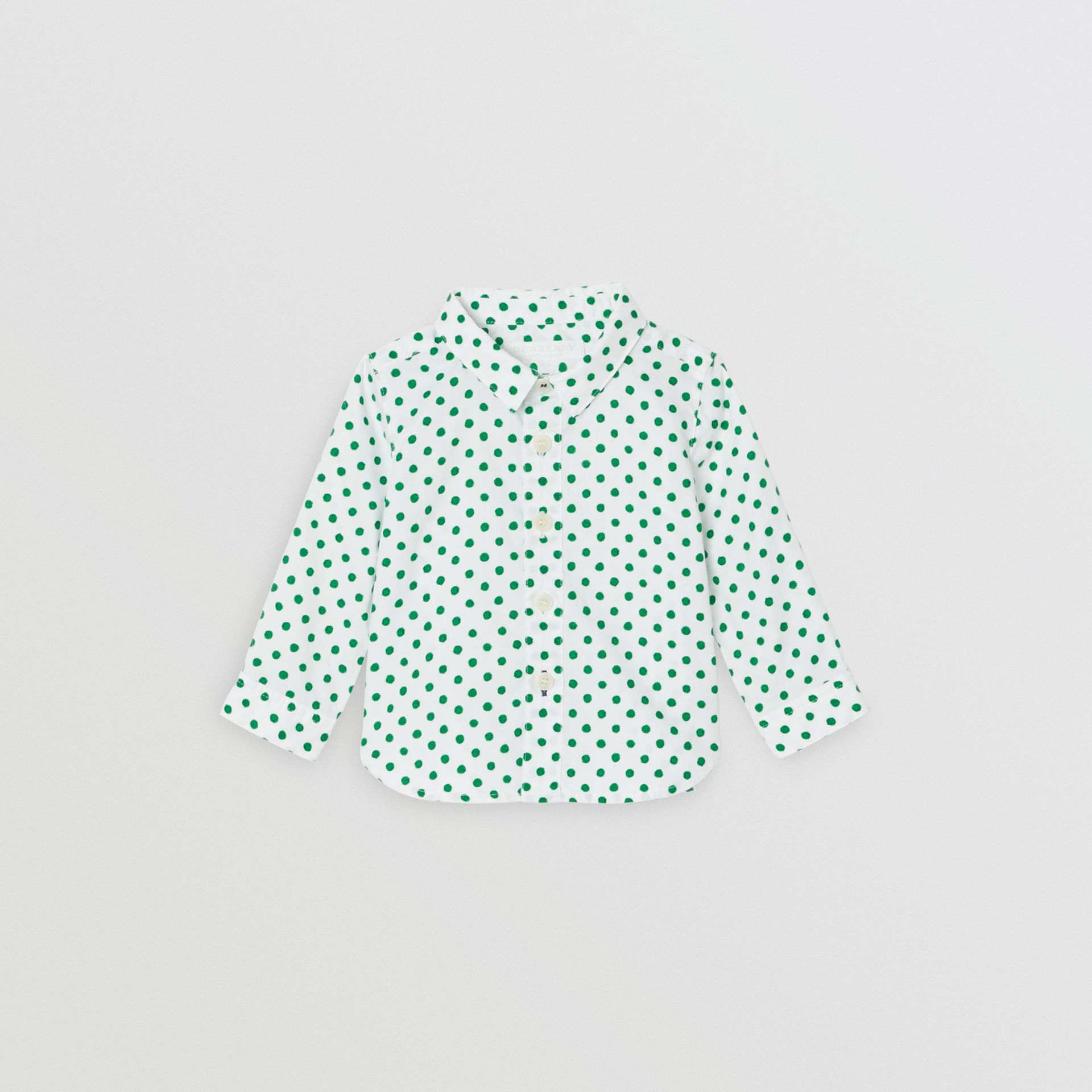Polka Dot Cotton Oxford Shirt in Emerald Green - Children | Burberry Canada - gallery image 0