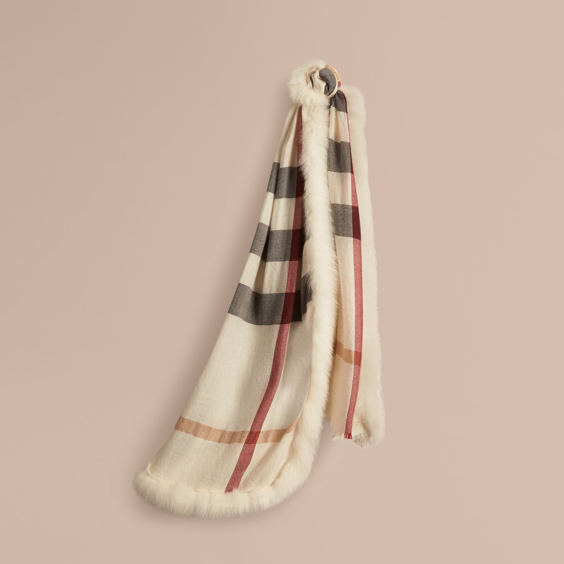 Ivory check Fur Trim Cashmere Check Scarf Ivory - gallery image 1