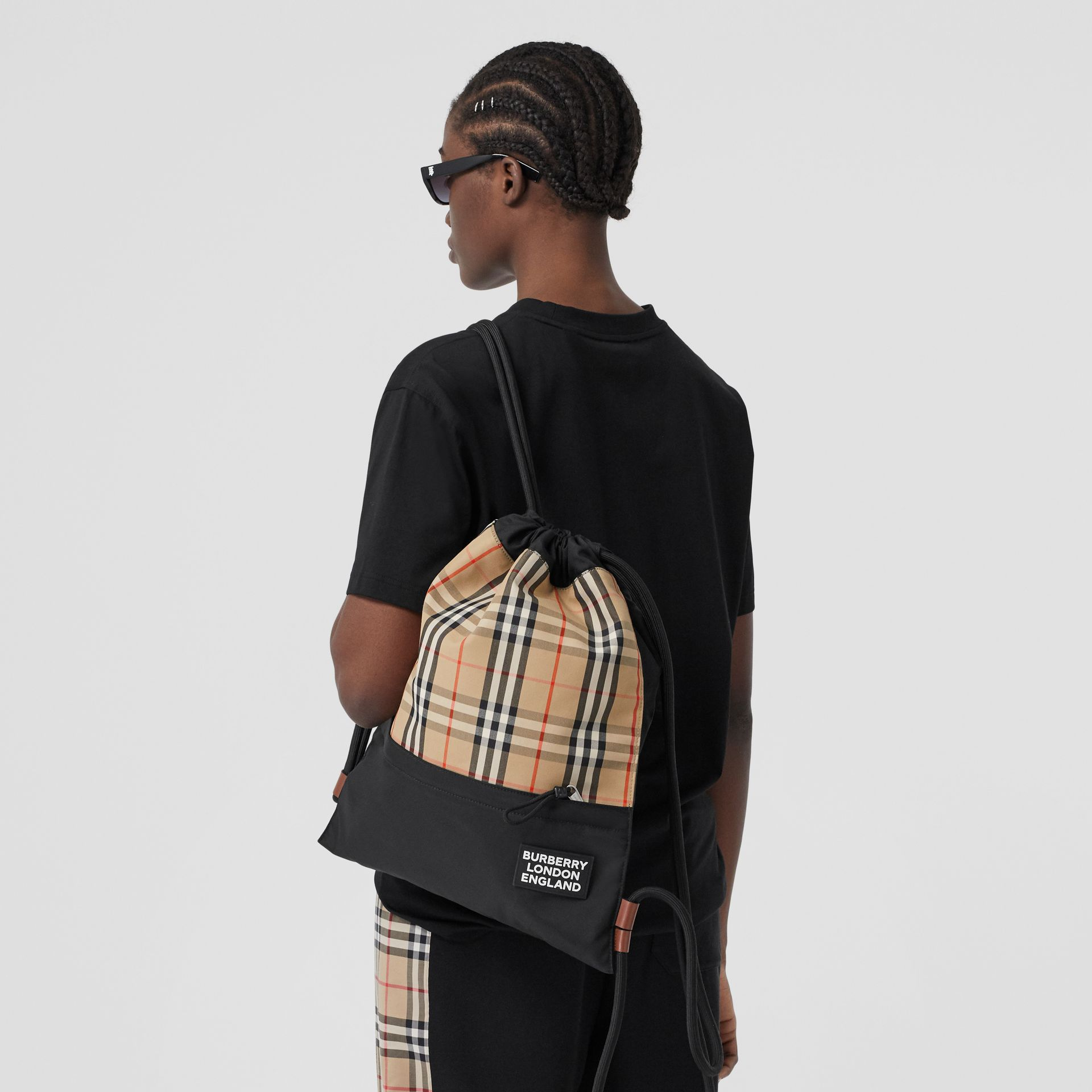 Vintage Check Panel Drawcord Backpack in Archive Beige | Burberry Canada - gallery image 2