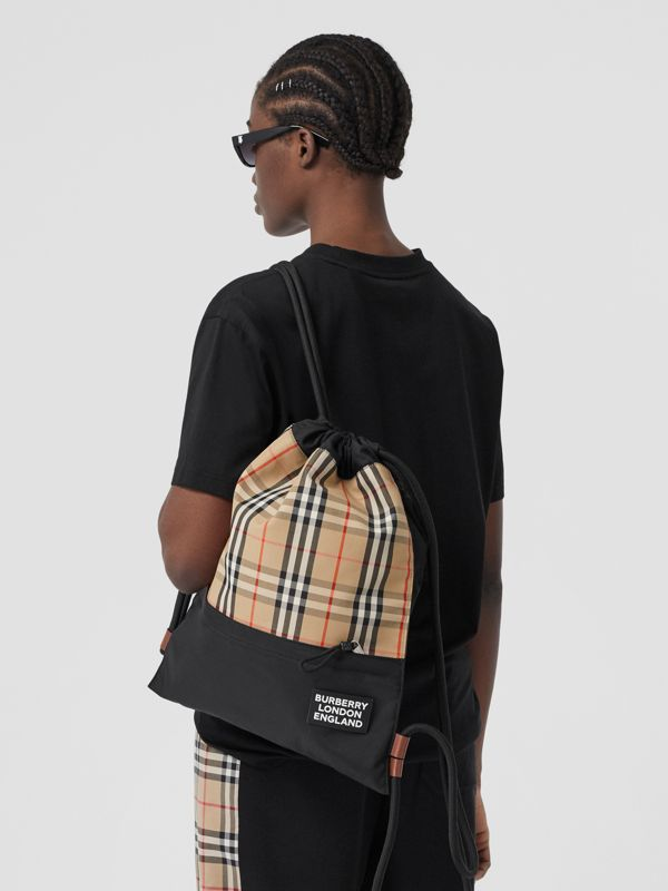 Vintage Check Panel Drawcord Backpack in Archive Beige | Burberry Canada - cell image 2