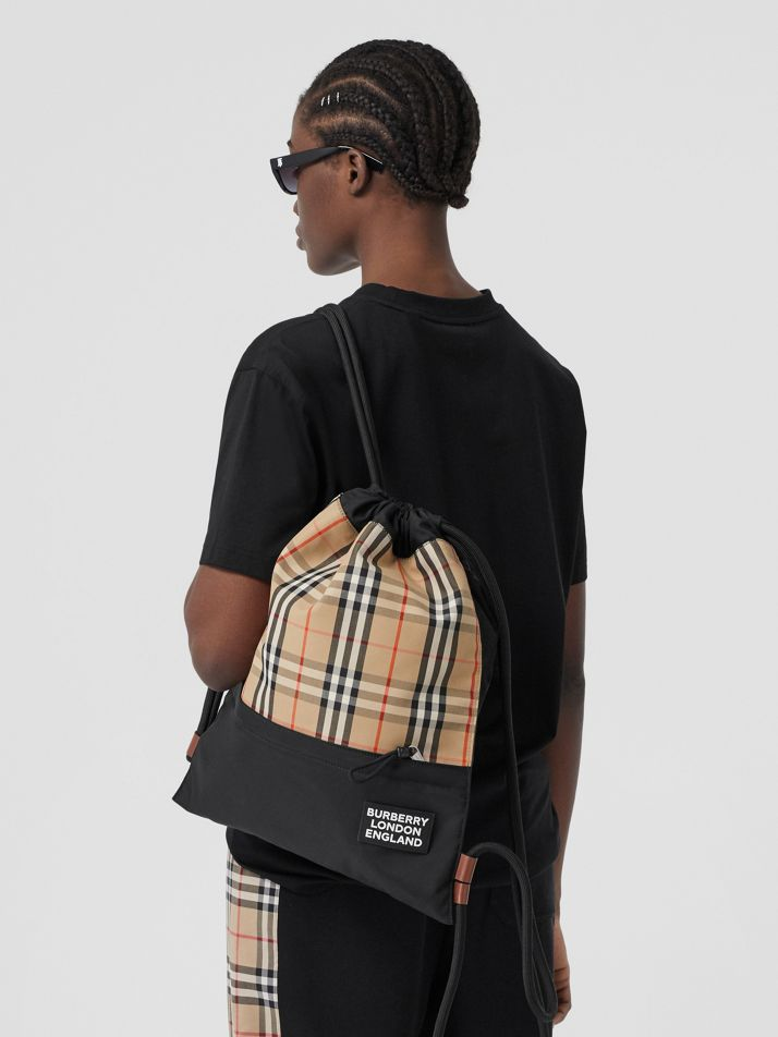 Vintage Check Panel Drawcord Backpack