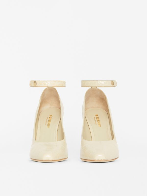 Triple Stud Embossed Leather Point-toe Pumps in Teddy Beige - Women | Burberry - cell image 2