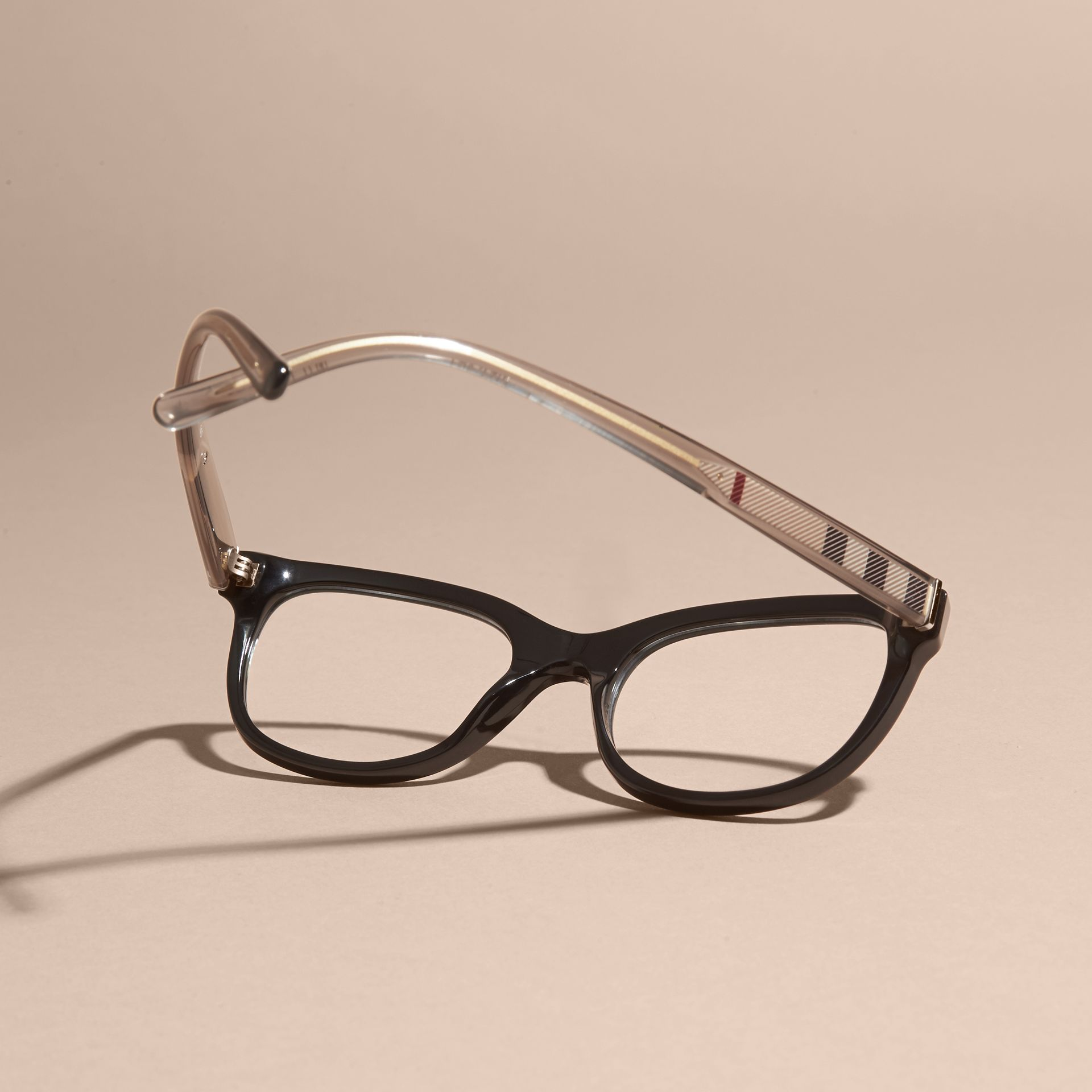 Check Detail Oval Optical Frames Black - gallery image 4