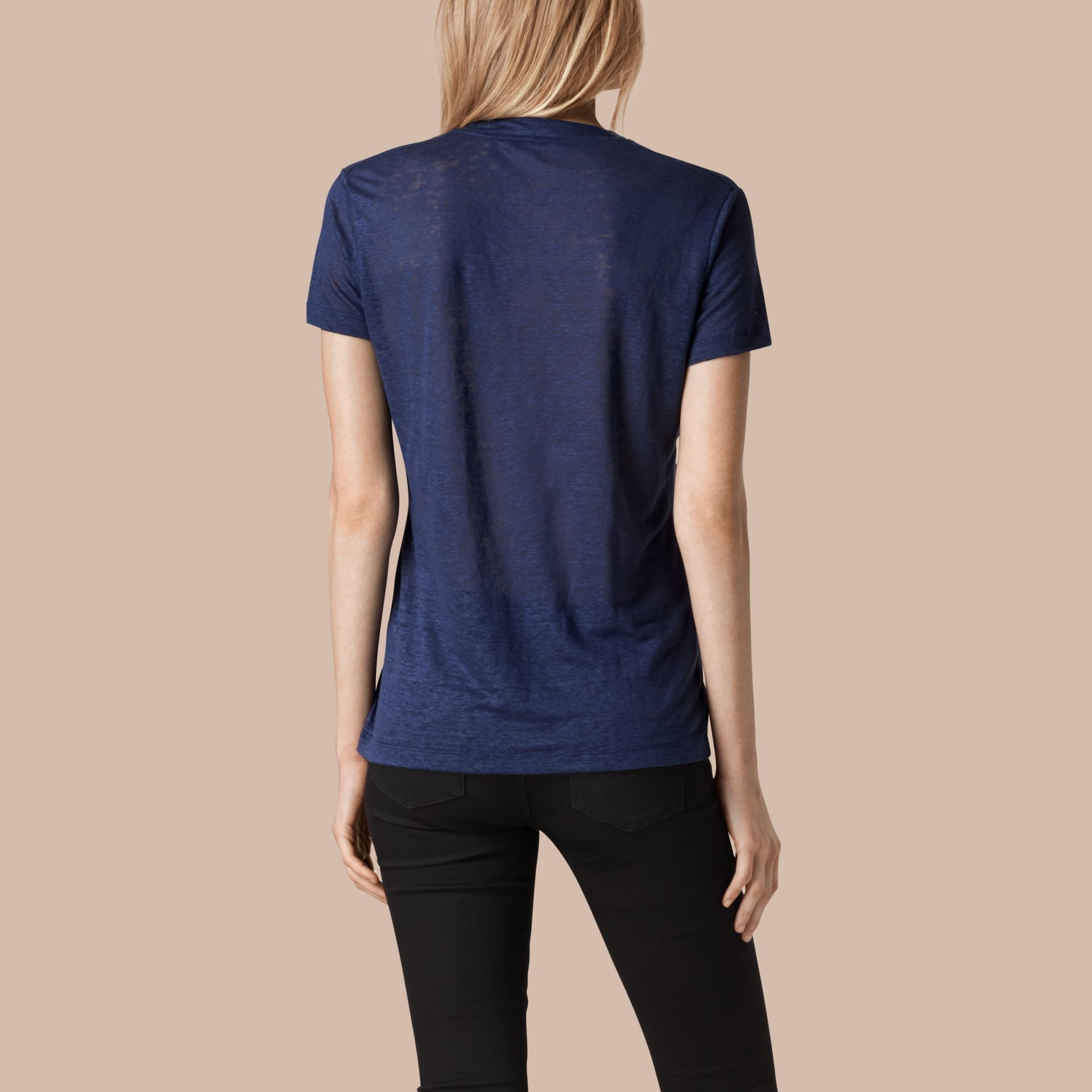 Brilliant navy V-Neck Open Stitch Detail Linen T-Shirt Brilliant Navy - gallery image 2