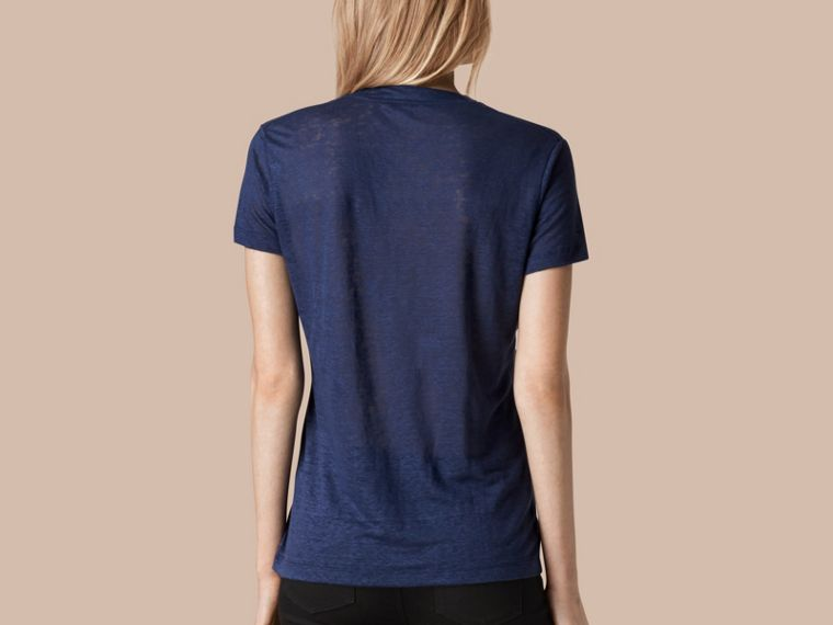 Brilliant navy V-Neck Open Stitch Detail Linen T-Shirt Brilliant Navy - cell image 1