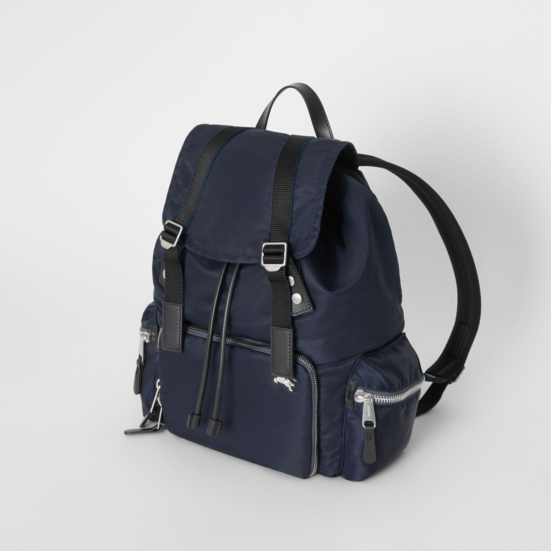 The Large Rucksack in Aviator Nylon and Leather in Ink Blue - Men | Burberry - gallery image 3