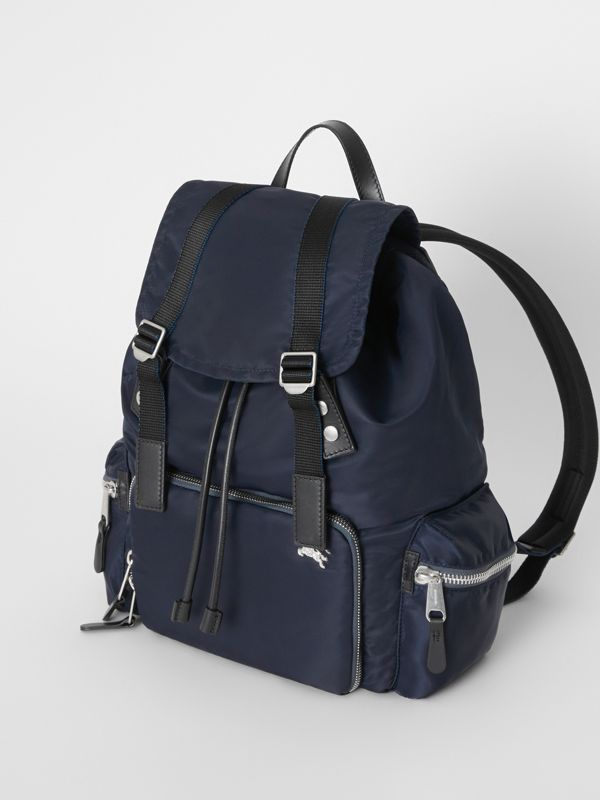 The Large Rucksack in Aviator Nylon and Leather in Ink Blue - Men | Burberry - cell image 3
