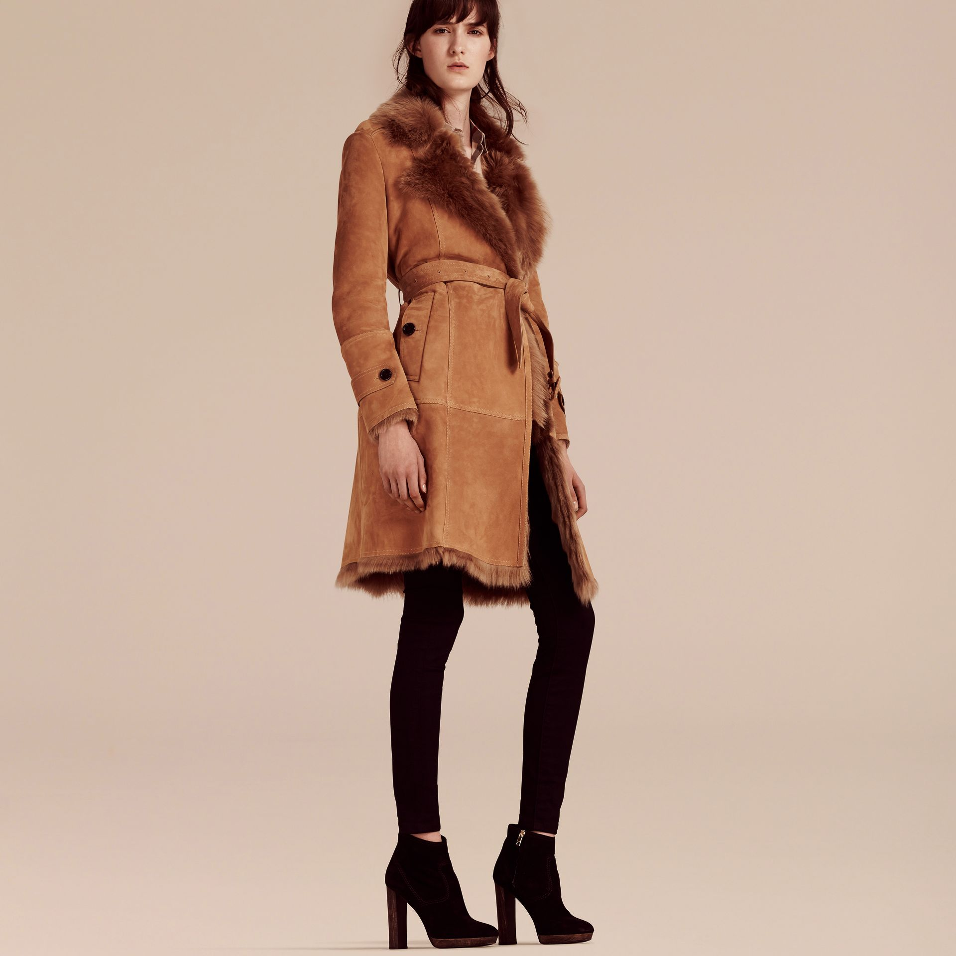 Shearling Wrap Coat - gallery image 6