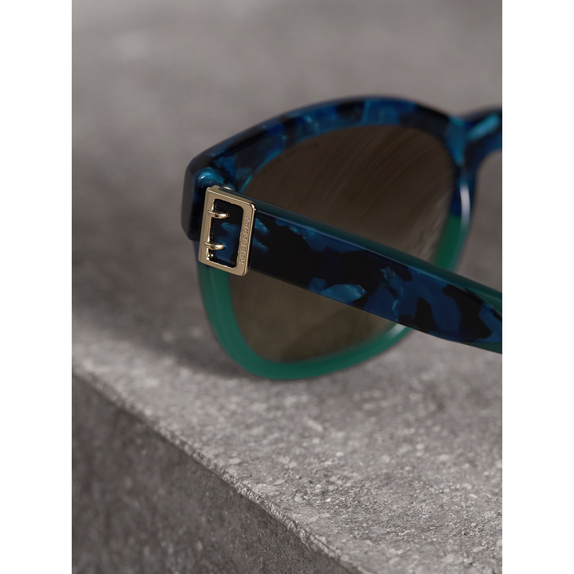 Buckle Detail Square Frame Sunglasses in Blue - Women | Burberry Singapore - gallery image 1