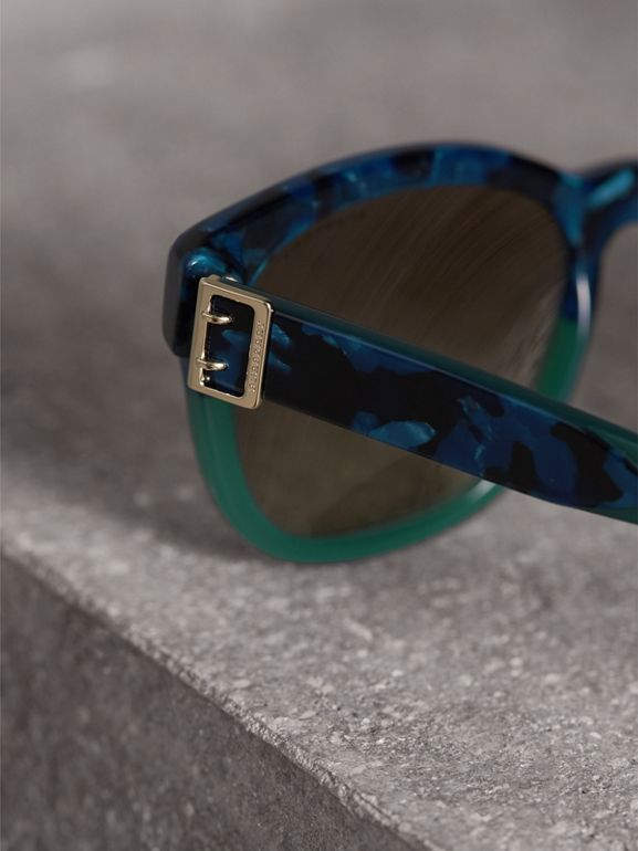 Buckle Detail Square Frame Sunglasses in Blue - Women | Burberry United Kingdom - cell image 1