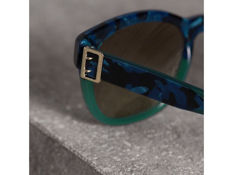 Buckle Detail Square Frame Sunglasses in Blue - Women | Burberry - cell image 1