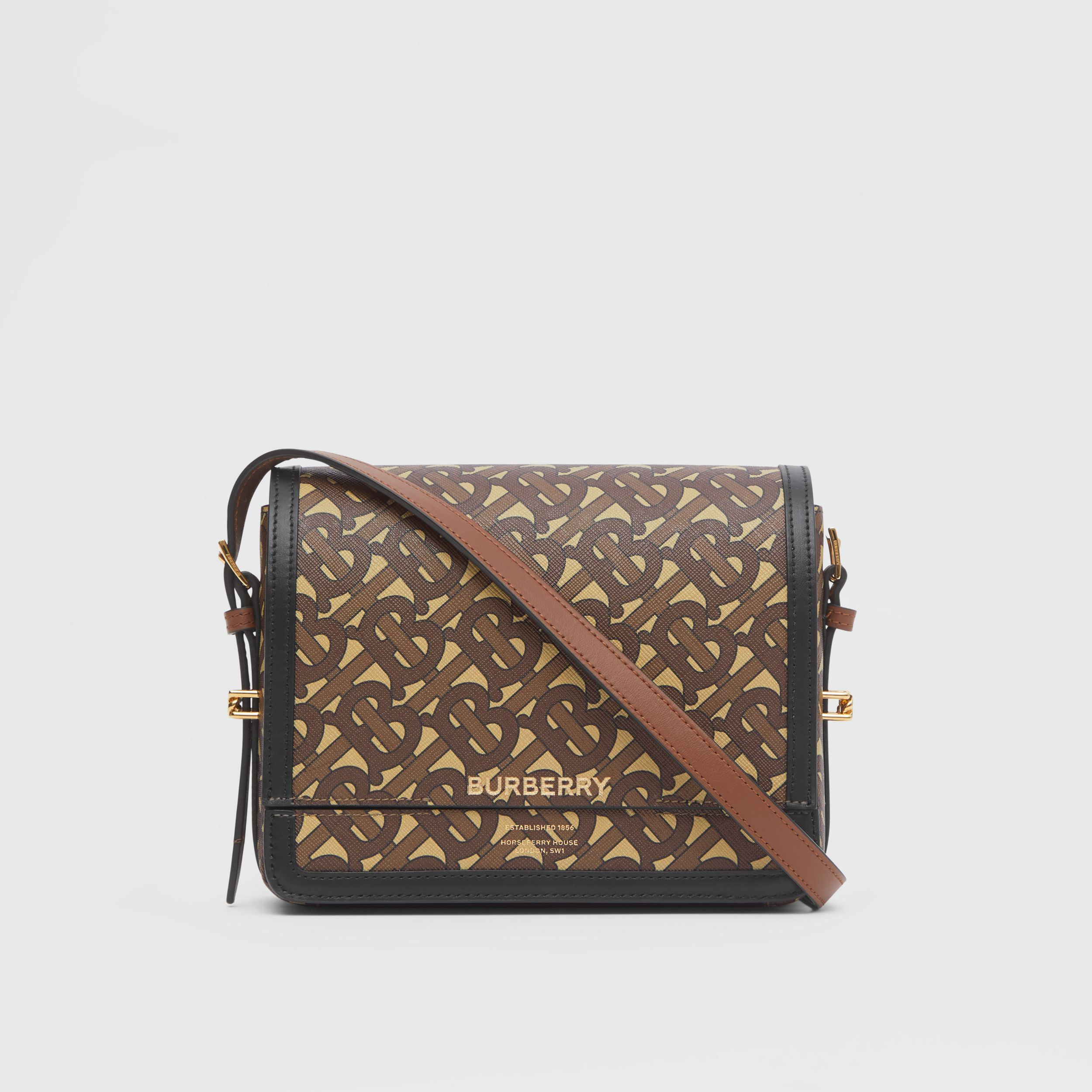 Small Monogram Print E-canvas Grace Bag in Bridle Brown - Women | Burberry - 1