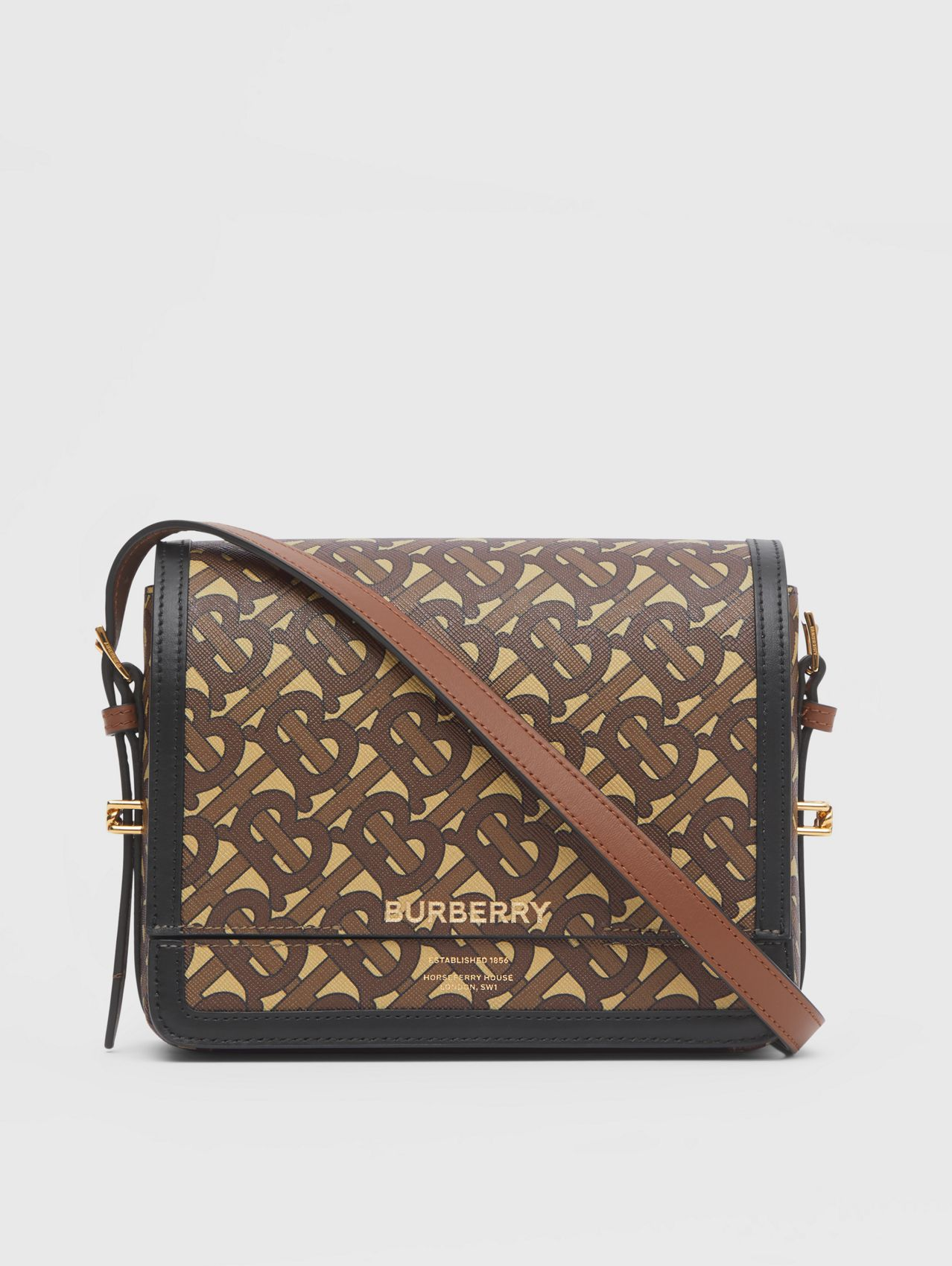 Small Monogram Print E-canvas Grace Bag in Bridle Brown