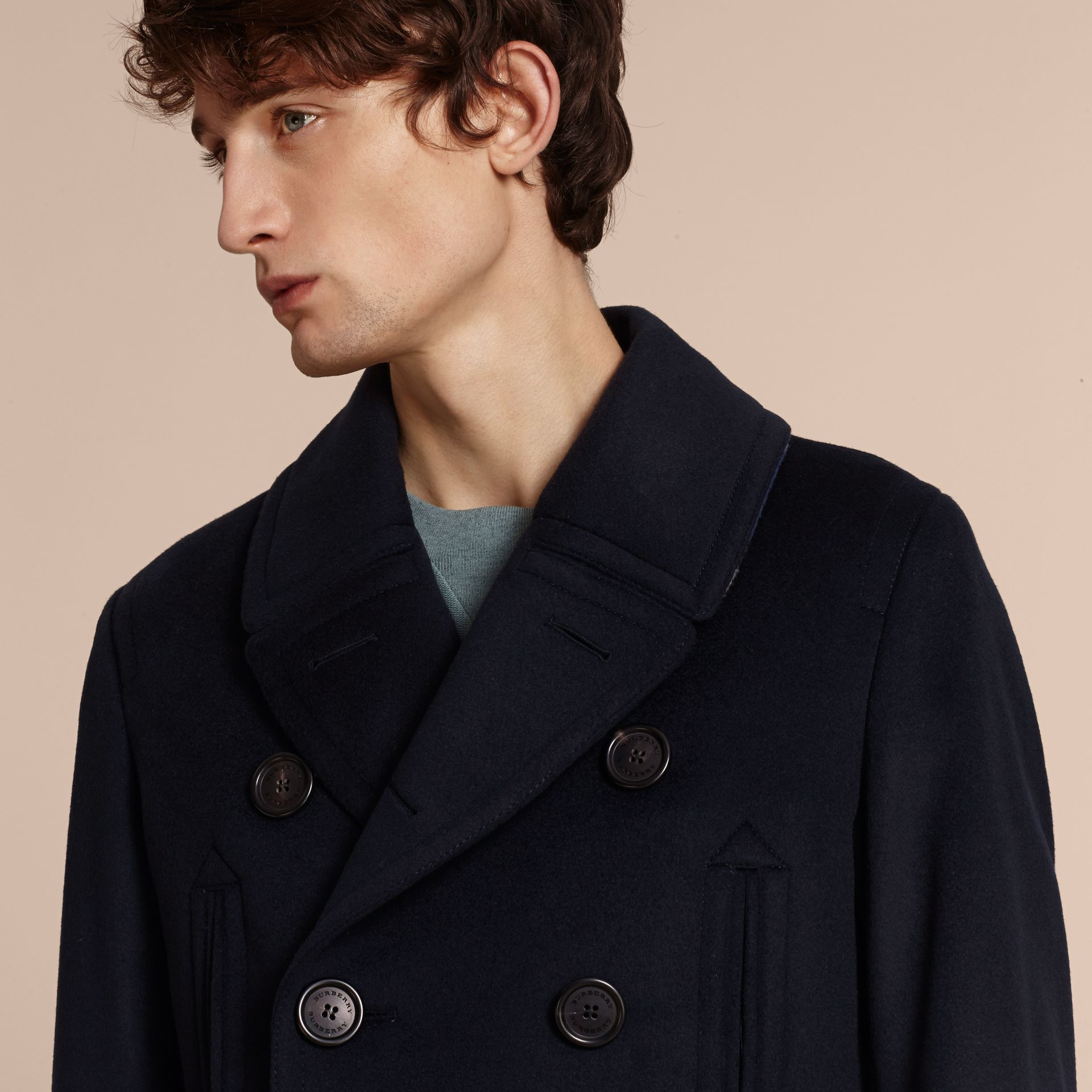 Wool Cashmere Pea Coat Navy - gallery image 6