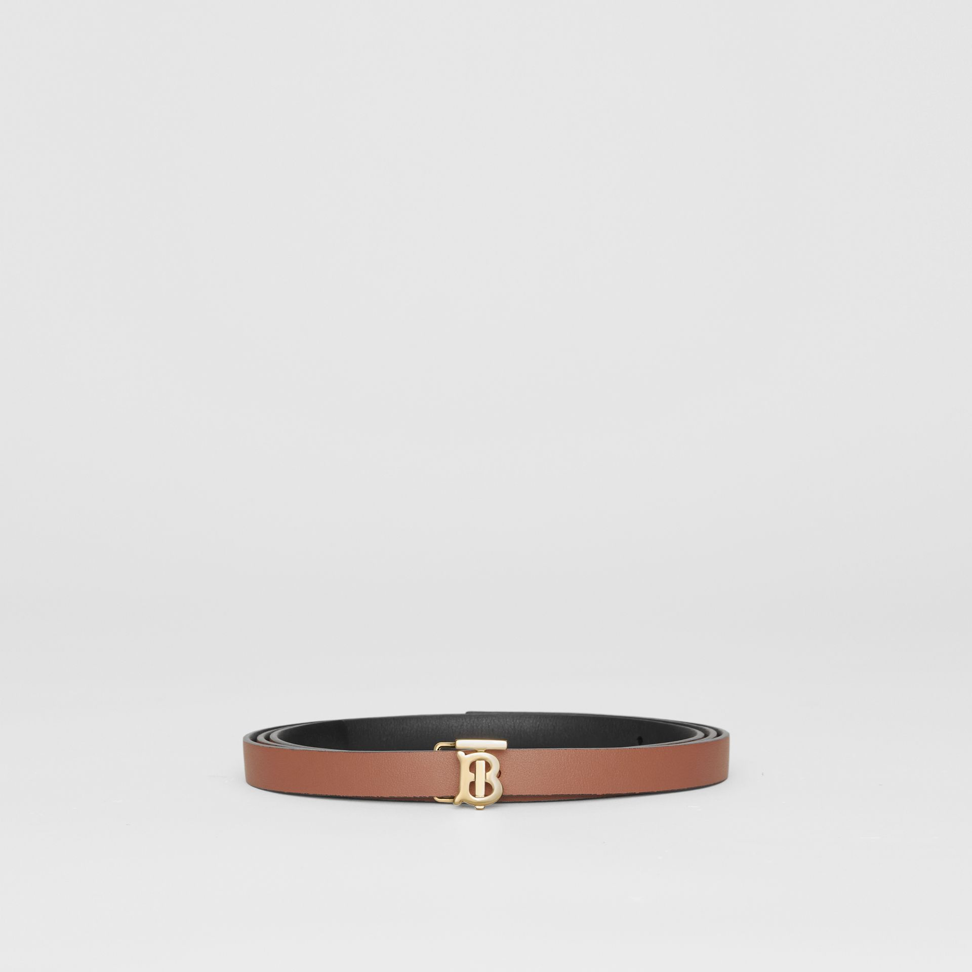 Reversible Monogram Motif Leather Wrap Belt in Black/malt Brown - Women | Burberry - gallery image 6