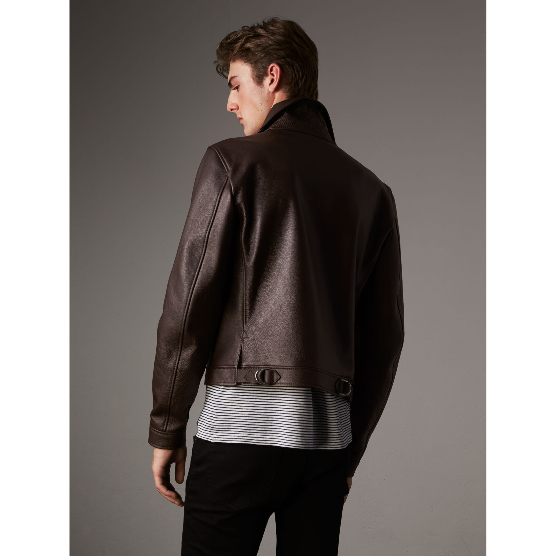 Tumbled Leather Jacket in Bitter Chocolate - Men | Burberry - gallery image 3