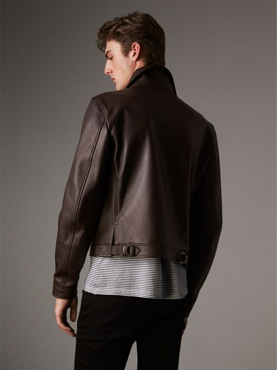 Tumbled Leather Jacket in Bitter Chocolate - Men | Burberry United Kingdom - cell image 2