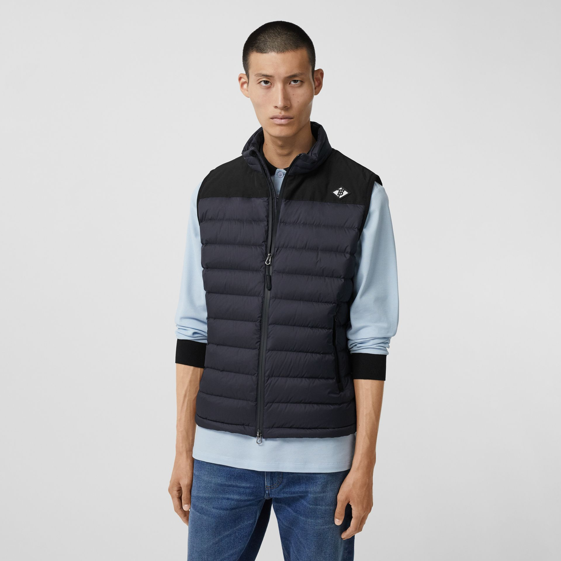 Logo Graphic Puffer Gilet in Navy - Men | Burberry - gallery image 4