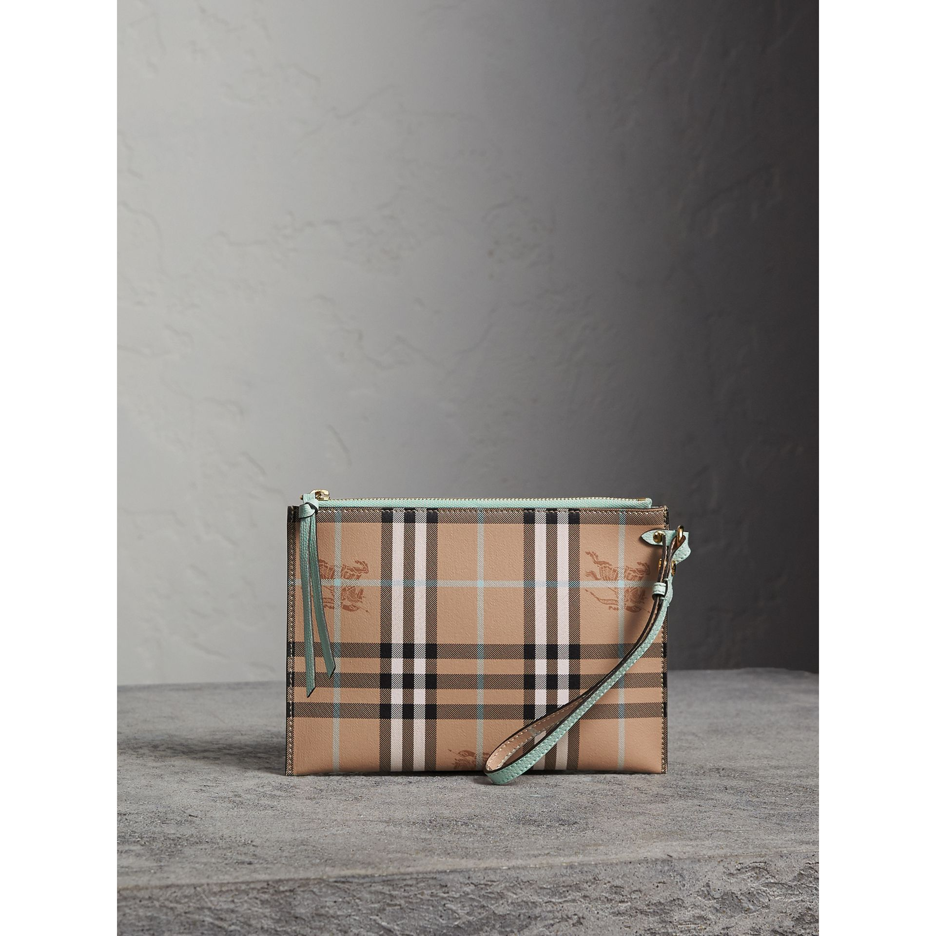 Haymarket Check Leather Pouch in Pale Opal - Women | Burberry Canada - gallery image 1