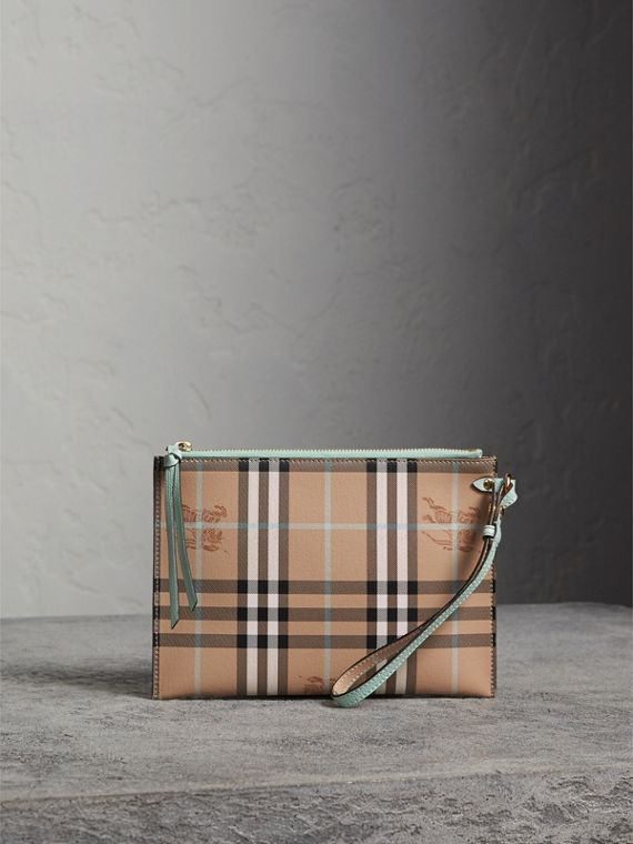 Haymarket Check Leather Pouch in Pale Opal