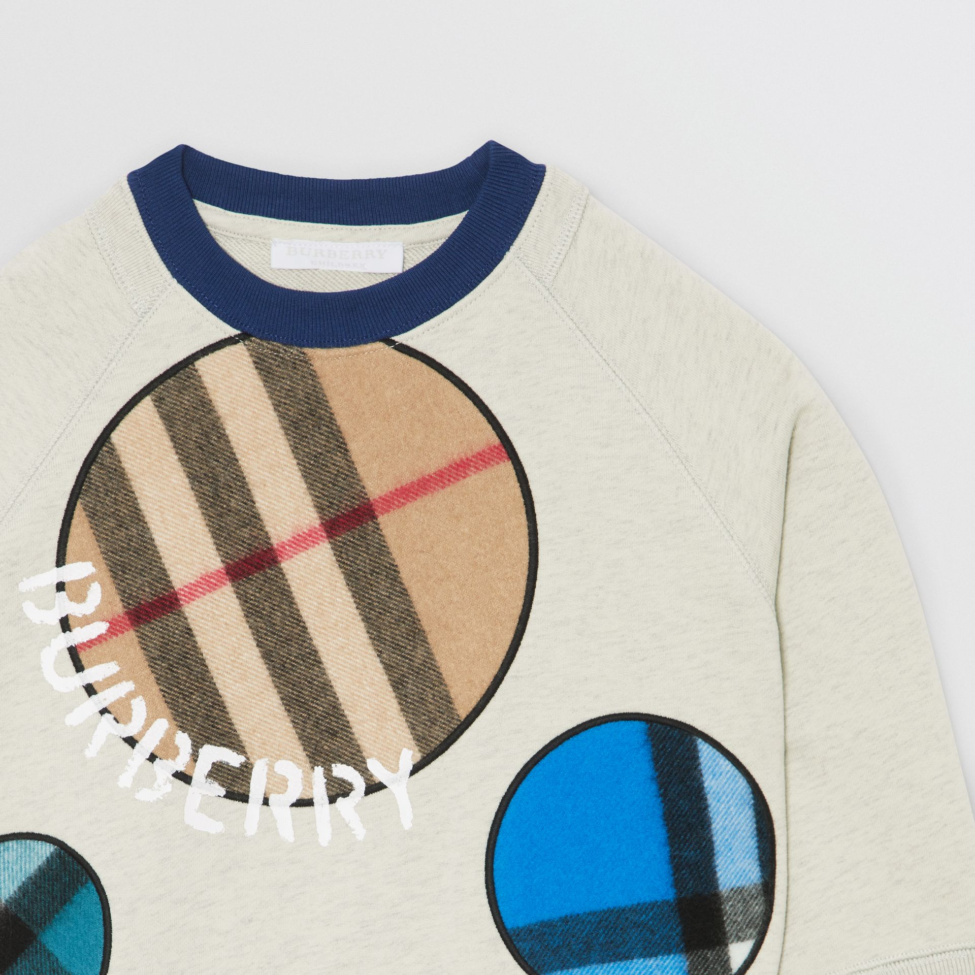 Check Appliqué Cotton Sweatshirt in Multicolour | Burberry Canada - gallery image 5