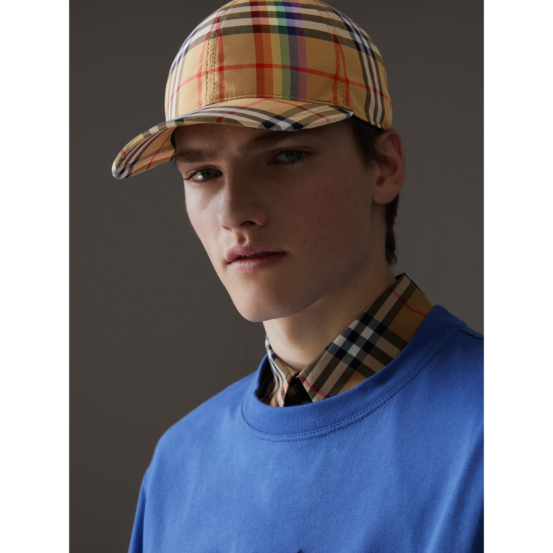 Rainbow Vintage Check Baseball Cap in Antique Yellow/rainbow | Burberry Australia - gallery image 3