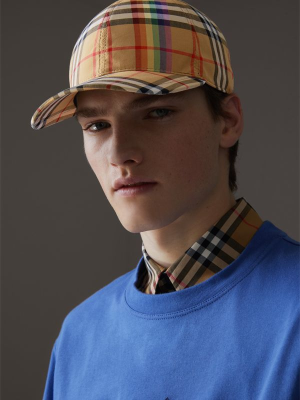 Rainbow Vintage Check Baseball Cap in Antique Yellow/rainbow | Burberry Australia - cell image 3