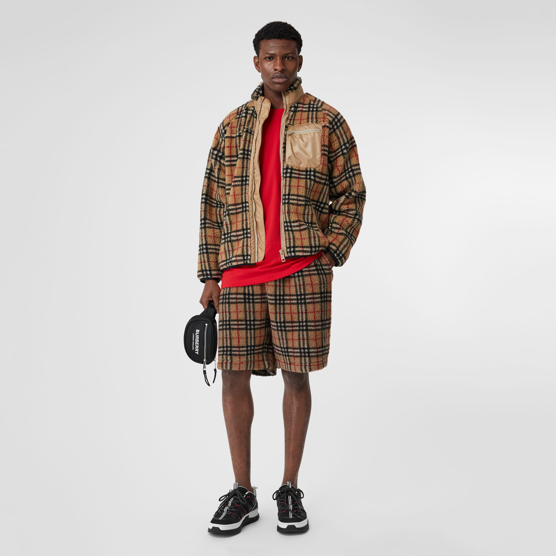Vintage Check Faux Shearling Jacket in Archive Beige - Men | Burberry United Kingdom - gallery image 0