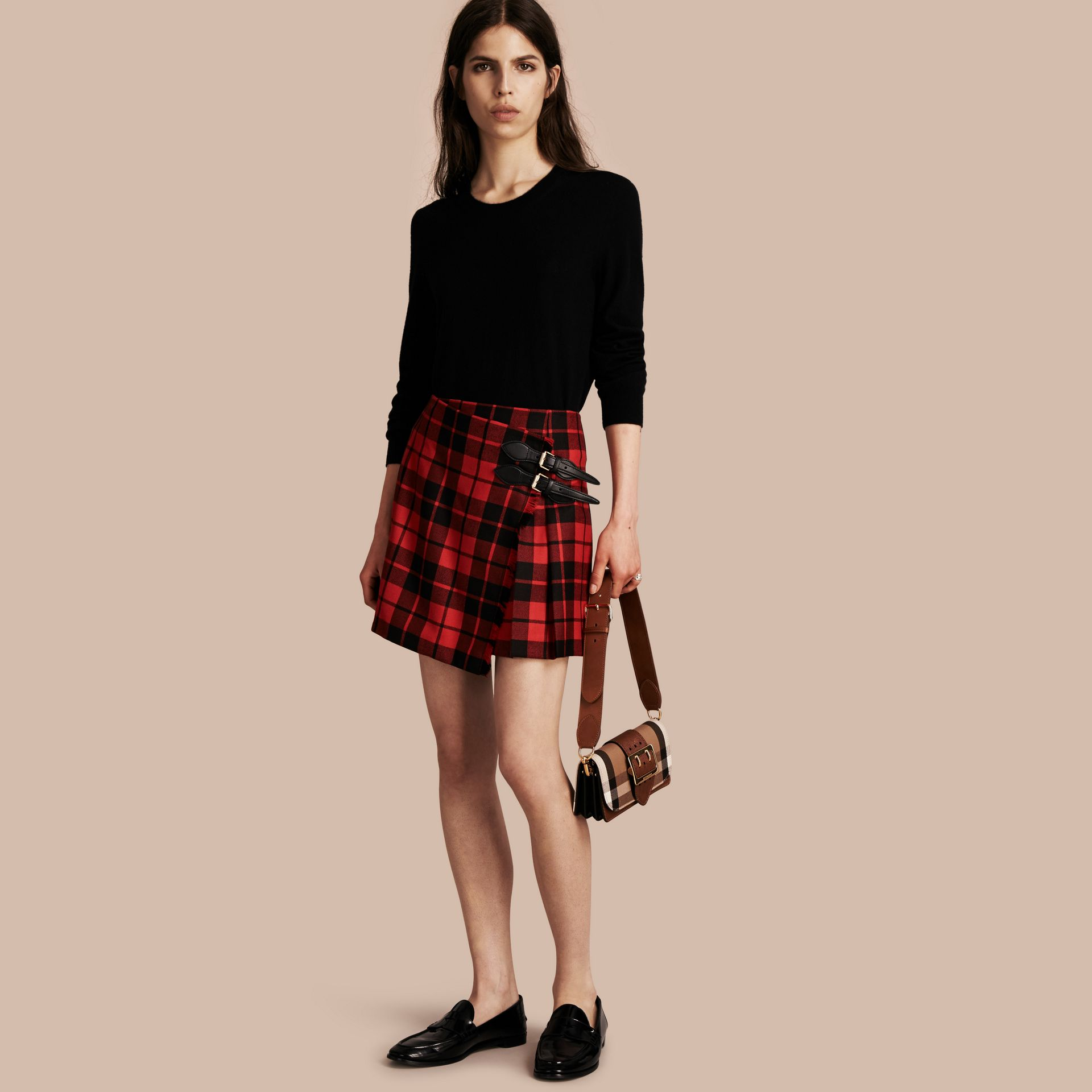 Bright red Tartan Wool Kilt - gallery image 1